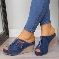 Dla kobiet Dżinsowa Obcas Koturnowy Sandały Koturny Otwarty Nosek Buta Kapcie Obcasy Z Łączona obuwie
