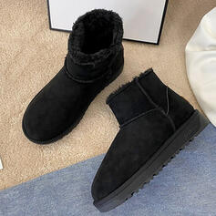 Dla kobiet Zamsz Płaski Obcas Botki Martin Buty Round Toe Z Jednolity kolor obuwie