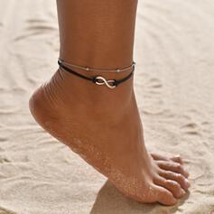Prosty Nieskończoność Stop Sznur skórzany Biżuteria plażowa Obrączki (Zestaw 2)