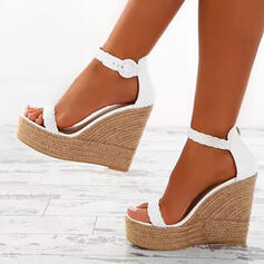 Dla kobiet Skóra ekologiczna Obcas Koturnowy Sandały Koturny Otwarty Nosek Buta Obcasy Z Klamra obuwie