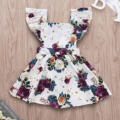 Dziewczynki 0-24mc Żabot Kwiatowy Nadruk Bawełna Suknia