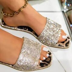Women's PU Flat Heel Sandals Flats Peep Toe Slippers Round Toe With Buckle Crisscross shoes
