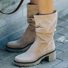 Dla kobiet Zamsz Obcas Slupek Kozaki Z Jednolity kolor obuwie