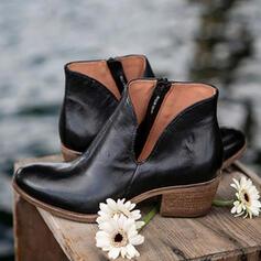 Dla kobiet Skóra ekologiczna Obcas Slupek Kozaki Niskie góry Spiczasty palec u nogi Z Zamek błyskawiczny Jednolity kolor obuwie
