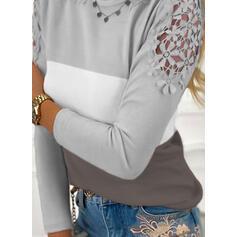 Blok Koloru Koronka Okrągły dekolt Długie rękawy Elegancki Bluzki