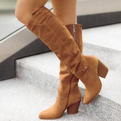 Dla kobiet Zamsz Obcas Slupek Kozaki Z Zamek błyskawiczny Jednolity kolor obuwie