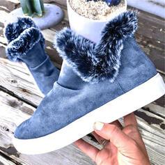 Dla kobiet Zamsz Płaski Obcas Botki Buty zimowe Round Toe Z Zamek błyskawiczny Sztuczne Futro obuwie