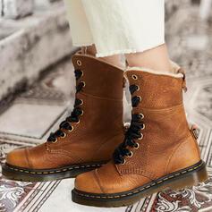 Dla kobiet PU Obcas Slupek Platforma Kozaki Martin Buty Z Sznurowanie Jednolity kolor obuwie