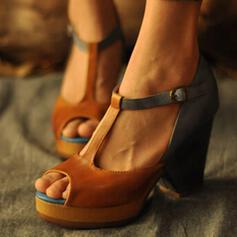 Dla kobiet PU Obcas Slupek Otwarty Nosek Buta Z Klamra obuwie