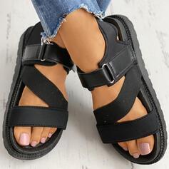 Dla kobiet PU Płaski Obcas Sandały Otwarty Nosek Buta Z Klamra Rzep obuwie