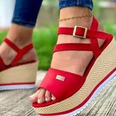 Women's PU Wedge Heel Sandals Platform Wedges Peep Toe Heels With Buckle Hollow-out shoes