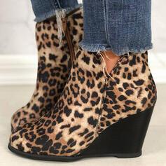Dla kobiet PU Obcas Koturnowy Koturny Botki Niskie góry Spiczasty palec u nogi Buty Chelsea Z Nadruk Zwierzęcy Zamek błyskawiczny obuwie