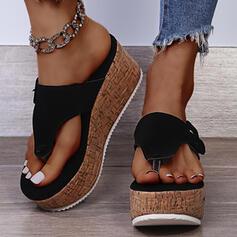 Dla kobiet Zamsz Obcas Koturnowy Sandały Japonki Kapcie Z Jednolity kolor obuwie
