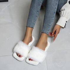 Dla kobiet Aksamit Płaski Obcas Otwarty Nosek Buta Z Futro obuwie