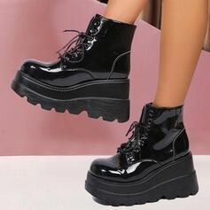 Dla kobiet PU Obcas Koturnowy Platforma Martin Buty Z Sznurowanie Jednolity kolor obuwie