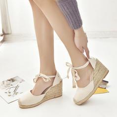 Dla kobiet PU Obcas Koturnowy Koturny Z Sznurowanie obuwie