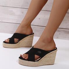 Dla kobiet PU Obcas Koturnowy Sandały Platforma Koturny Otwarty Nosek Buta Kapcie Z Tkanina Wypalana Jednolity kolor obuwie