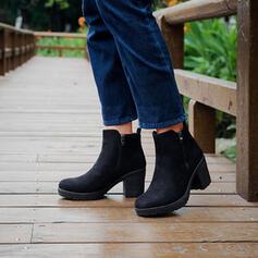 Dla kobiet Mikrofibra Obcas Slupek Martin Buty Round Toe Z Zamek błyskawiczny obuwie