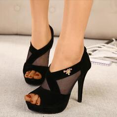 Dla kobiet PU Obcas Stiletto Otwarty Nosek Buta Z Tkanina Wypalana obuwie