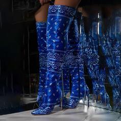Dla kobiet Material Obcas Stiletto Kozaki do kolan Spiczasty palec u nogi Z Nadruk Zwierzęcy Zamek błyskawiczny obuwie
