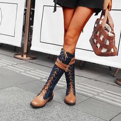 Dla kobiet PU Obcas Slupek Kozaki do kolan Round Toe Z Zamek błyskawiczny Sznurowanie Kolor splotu obuwie