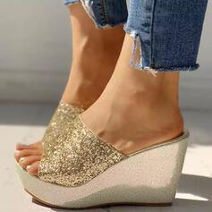 Dla kobiet PU Obcas Koturnowy Sandały Koturny Z Cekin Byszczący brokat obuwie