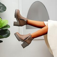 Dla kobiet PU Obcas Stożek Botki Round Toe Z Zamek błyskawiczny Jednolity kolor obuwie