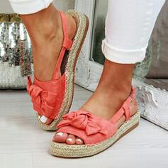 Dla kobiet Zamsz Płaski Obcas Sandały Platforma Otwarty Nosek Buta Z Kokarda obuwie