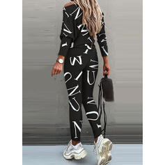Print Shirred Casual Sporty Suits