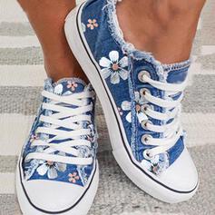 Dla kobiet Płótno Płaski Obcas Plaskie Niskie góry Z Sznurowanie Kwiaty Wydrukować obuwie