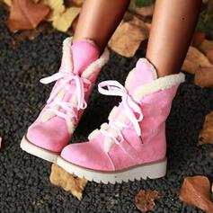 Dla kobiet Zamsz Obcas Koturnowy Kozaki do polowy lydki Buty zimowe Round Toe Z Sznurowanie Jednolity kolor obuwie