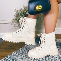 Dla kobiet PU Płaski Obcas Kozaki Botki Z Sznurowanie Jednolity kolor obuwie