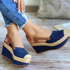 Dla kobiet Material Obcas Koturnowy Sandały Koturny Round Toe Z Klamra Łączona Kolor splotu obuwie