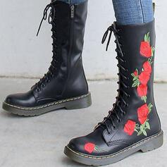 Dla kobiet Prawdziwa Skóra Obcas Slupek Kozaki do polowy lydki Z Sznurowanie Nadruk Kwiatowy obuwie