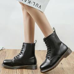Dla kobiet Skóra ekologiczna Niski Obcas Round Toe Z Sznurowanie Jednolity kolor obuwie