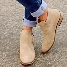 Dla kobiet Zamsz Płaski Obcas Botki Z Zamek błyskawiczny obuwie