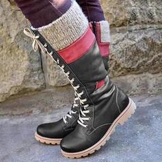 Dla kobiet PU Niski Obcas Kozaki do kolan Buty zimowe Riding Boots Round Toe Z Sznurowanie Kolor splotu obuwie