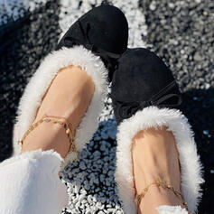 Women's Suede Flat Heel Round Toe Loafers Slip On With Feather Bowknot Faux-Fur shoes