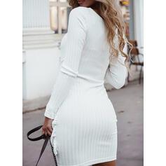 Jednolity Długie rękawy Pokrowiec Nad kolana Nieformalny Sukienki