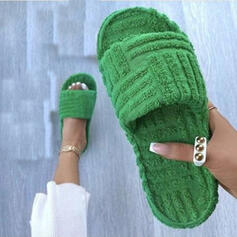 Dla kobiet Sztuczne futro Płaski Obcas Sandały Otwarty Nosek Buta Kapcie Z Jednolity kolor obuwie