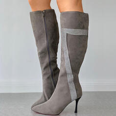 Dla kobiet PU Obcas Stiletto Kozaki do kolan Spiczasty palec u nogi Z Zamek błyskawiczny Kolor splotu obuwie