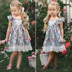Dziewczynki 2-5lat Kwiatowy Koronka Nadruk Bawełna Suknia