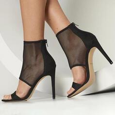 Dla kobiet Zamsz Obcas Stiletto Otwarty Nosek Buta Z Tkanina Wypalana obuwie