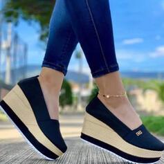 Dla kobiet Material Tkanina mesh Obcas Koturnowy Sandały Platforma Koturny Round Toe Z Jednolity kolor obuwie