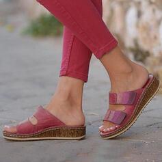 Dla kobiet Skóra ekologiczna Płaski Obcas Sandały Otwarty Nosek Buta Kapcie Z Tkanina Wypalana Coś pozszywanego z kawałków obuwie