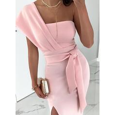 Jednolita Krótkie rękawy Pokrowiec Seksowna/Przyjęcie Midi Sukienki