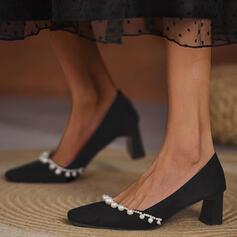 Dla kobiet Zamsz Obcas Slupek Czólenka Obcasy Z Imitacja Pereł Jednolity kolor obuwie