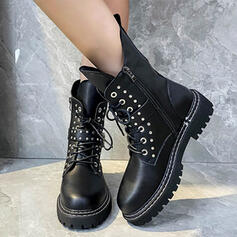 Dla kobiet Skóra ekologiczna Niski Obcas Round Toe Z Nit Zamek błyskawiczny Sznurowanie Jednolity kolor obuwie