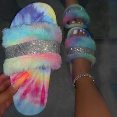 Women's PVC Flat Heel Sandals Flats Peep Toe Slippers With Rhinestone Faux-Fur shoes