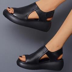 Dla kobiet PU Obcas Koturnowy Sandały Z Rzep Jednolity kolor obuwie